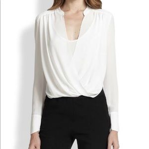 BCBGMaxArzia Cream White Faux Wrap Blouse